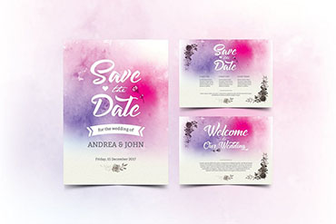 Watercolor Wedding Card